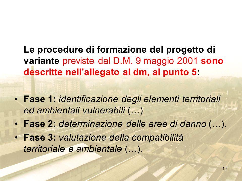17 Le procedure di formazione del progetto di variante previste dal D.M. 9 maggio 2001 sono descritte nellallegato al dm, al punto 5: Fase 1: identifi