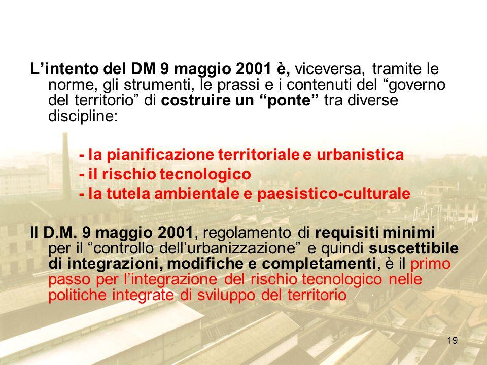 19 Lintento del DM 9 maggio 2001 è, viceversa, tramite le norme, gli strumenti, le prassi e i contenuti del governo del territorio di costruire un pon