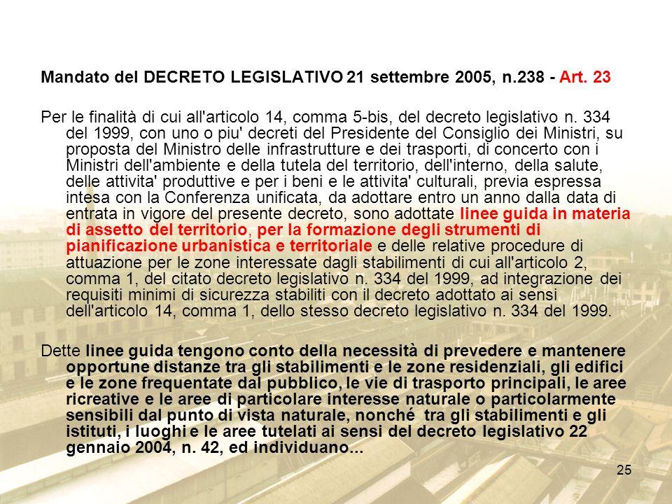 25 Mandato del DECRETO LEGISLATIVO 21 settembre 2005, n.238 - Art. 23 Per le finalità di cui all'articolo 14, comma 5-bis, del decreto legislativo n.