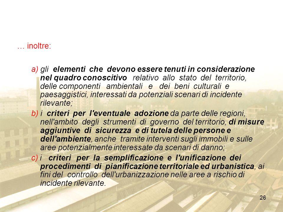 26 … inoltre: a) gli elementi che devono essere tenuti in considerazione nel quadro conoscitivo relativo allo stato del territorio, delle componenti a