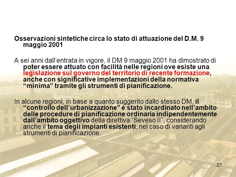 27 Osservazioni sintetiche circa lo stato di attuazione del D.M. 9 maggio 2001 A sei anni dallentrata in vigore, il DM 9 maggio 2001 ha dimostrato di