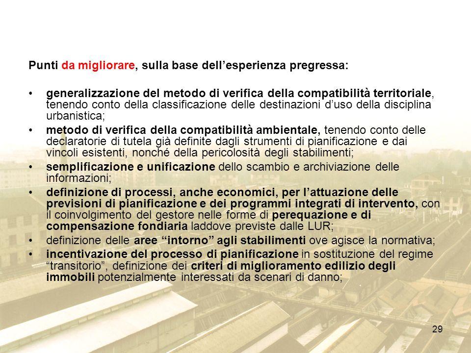 29 Punti da migliorare, sulla base dellesperienza pregressa: generalizzazione del metodo di verifica della compatibilità territoriale, tenendo conto d