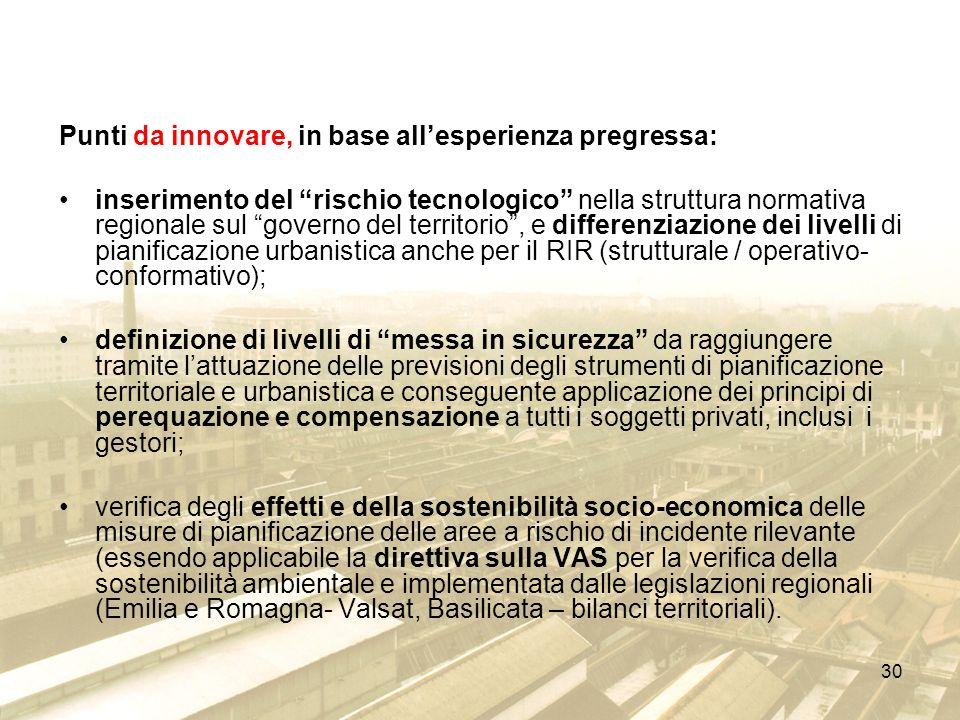 30 Punti da innovare, in base allesperienza pregressa: inserimento del rischio tecnologico nella struttura normativa regionale sul governo del territo