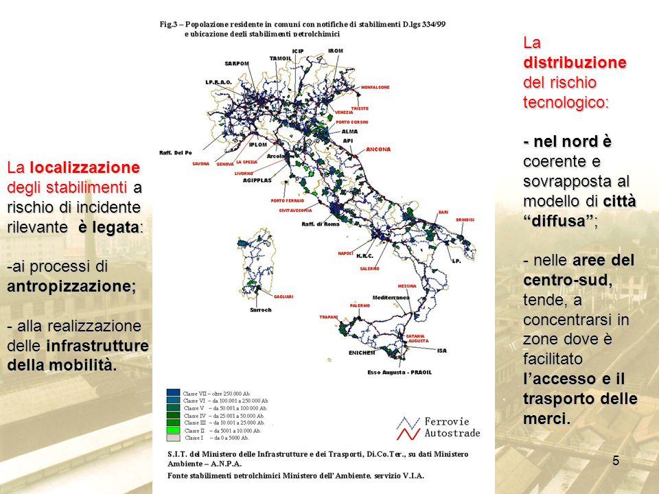 5 La localizzazione degli stabilimenti a rischio di incidente rilevante è legata: -ai processi di antropizzazione; - alla realizzazione delle infrastr
