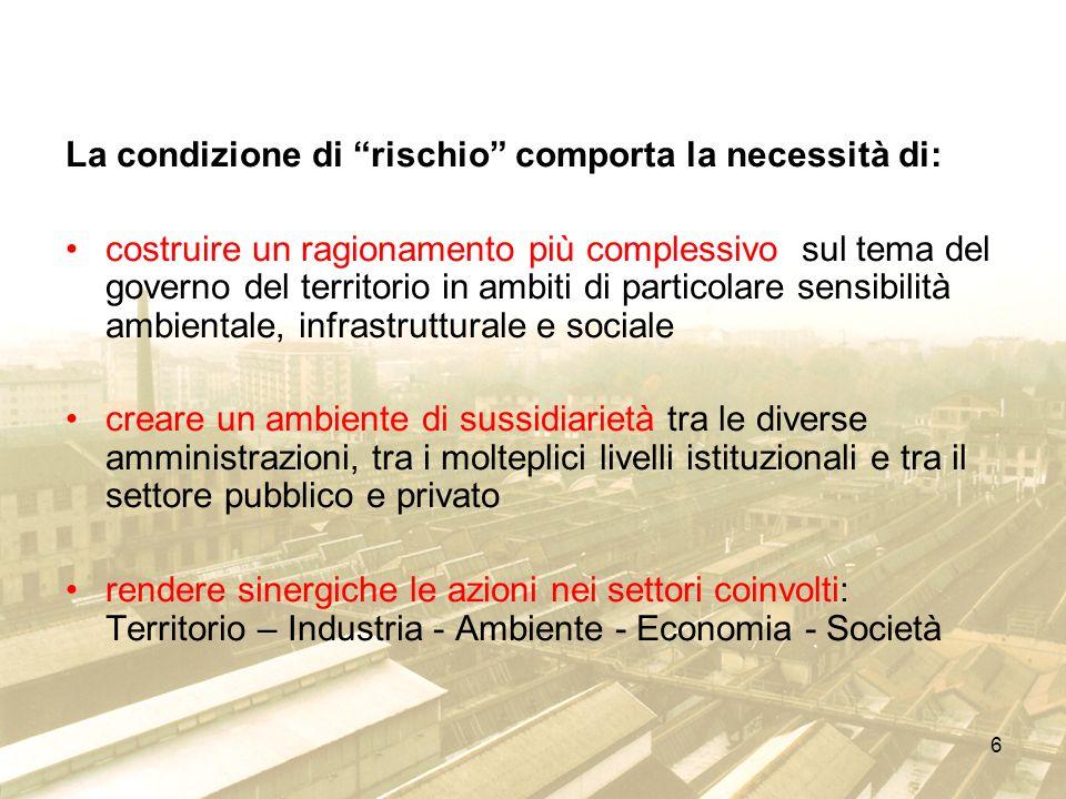 6 La condizione di rischio comporta la necessità di: costruire un ragionamento più complessivo sul tema del governo del territorio in ambiti di partic