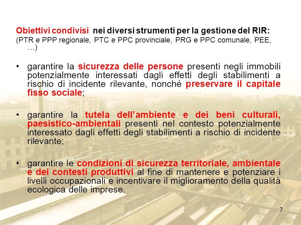 7 Obiettivi condivisi nei diversi strumenti per la gestione del RIR: (PTR e PPP regionale, PTC e PPC provinciale, PRG e PPC comunale, PEE, …) garantir