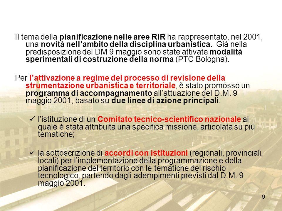 9 Il tema della pianificazione nelle aree RIR ha rappresentato, nel 2001, una novità nellambito della disciplina urbanistica. Già nella predisposizion