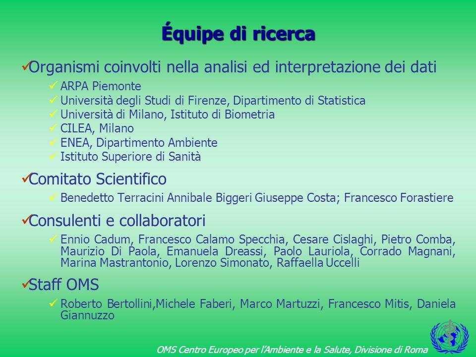 OMS Centro Europeo per lAmbiente e la Salute, Divisione di Roma Metodi di analisi 1 Sono stati utilizzati i dati di mortalità ISTAT aggiornati al 1994.