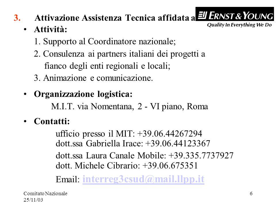 Comitato Nazionale 25/11/03 6 3. Attivazione Assistenza Tecnica affidata a Attività: 1.