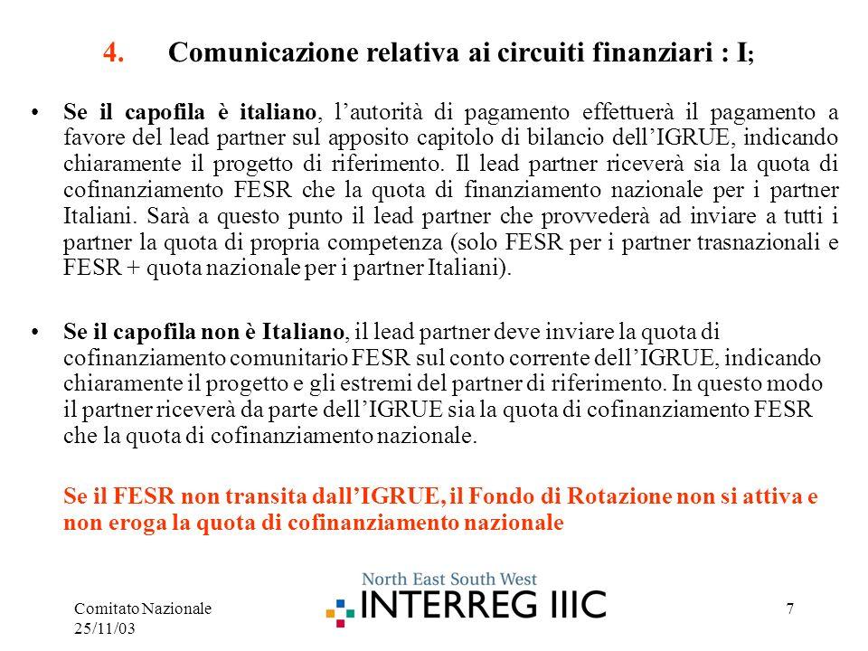 Comitato Nazionale 25/11/03 7 Se il capofila è italiano, lautorità di pagamento effettuerà il pagamento a favore del lead partner sul apposito capitolo di bilancio dellIGRUE, indicando chiaramente il progetto di riferimento.