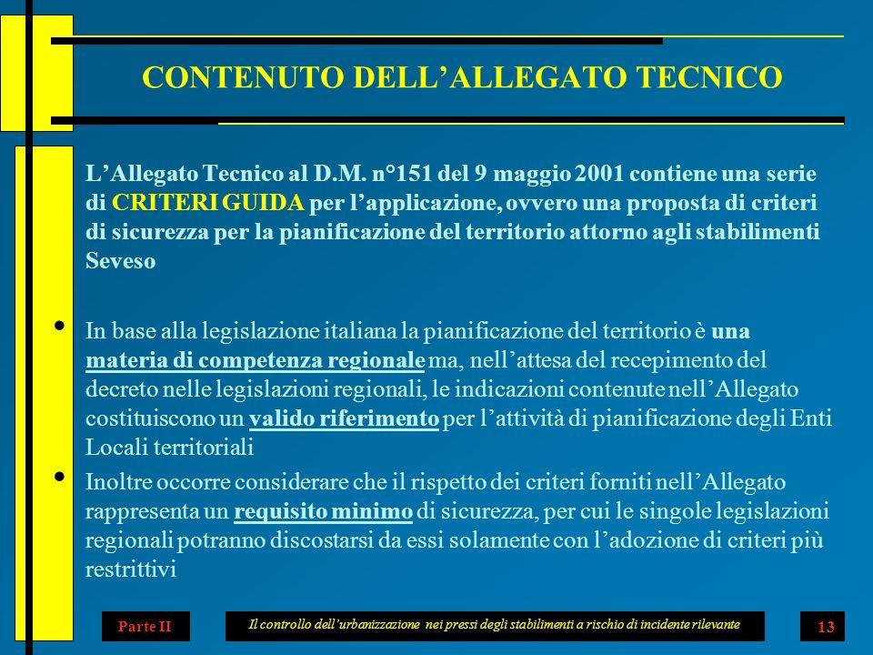 Il controllo dellurbanizzazione nei pressi degli stabilimenti a rischio di incidente rilevante 13 CONTENUTO DELLALLEGATO TECNICO LAllegato Tecnico al D.M.