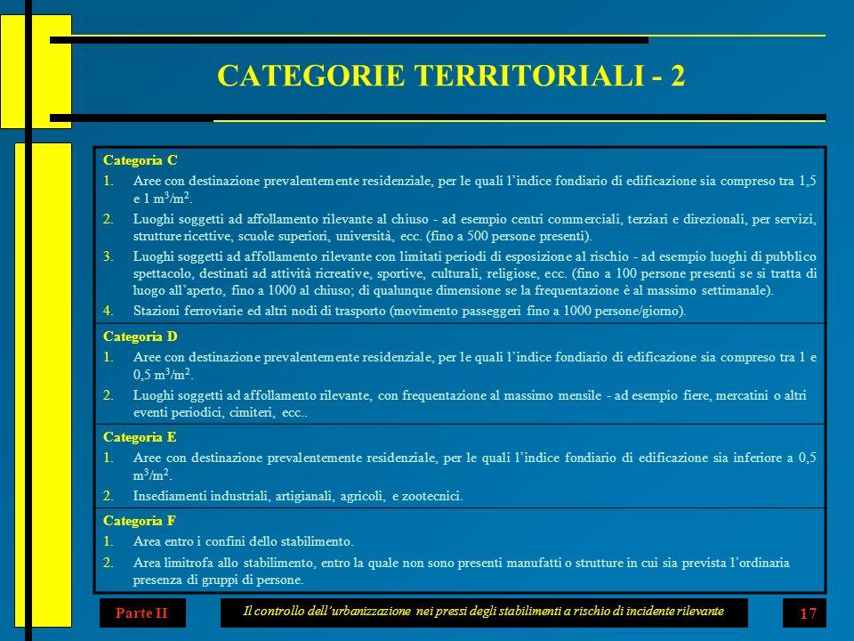 Il controllo dellurbanizzazione nei pressi degli stabilimenti a rischio di incidente rilevante 17 CATEGORIE TERRITORIALI - 2 Categoria C 1.Aree con destinazione prevalentemente residenziale, per le quali lindice fondiario di edificazione sia compreso tra 1,5 e 1 m 3 /m 2.
