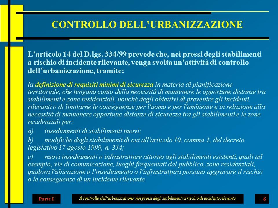 Il controllo dellurbanizzazione nei pressi degli stabilimenti a rischio di incidente rilevante 6 CONTROLLO DELLURBANIZZAZIONE Larticolo 14 del D.lgs.