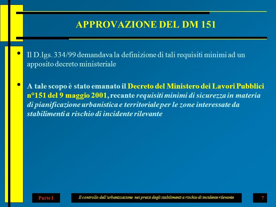 Il controllo dellurbanizzazione nei pressi degli stabilimenti a rischio di incidente rilevante 7 APPROVAZIONE DEL DM 151 Il D.lgs.