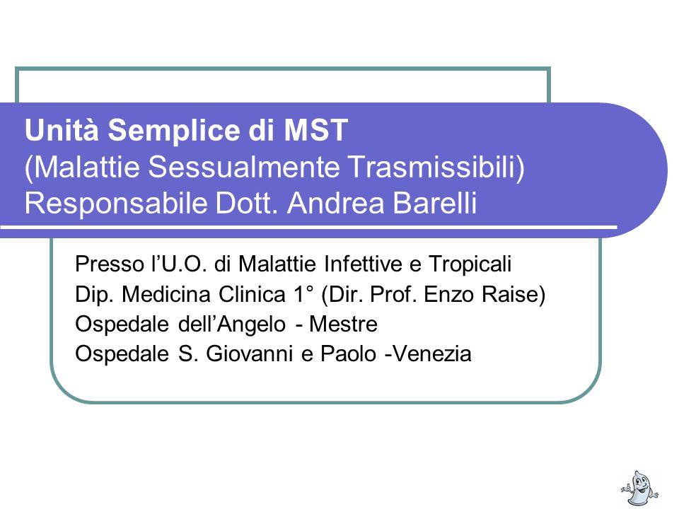 Unità Semplice di MST (Malattie Sessualmente Trasmissibili) Responsabile Dott. Andrea Barelli Presso lU.O. di Malattie Infettive e Tropicali Dip. Medi