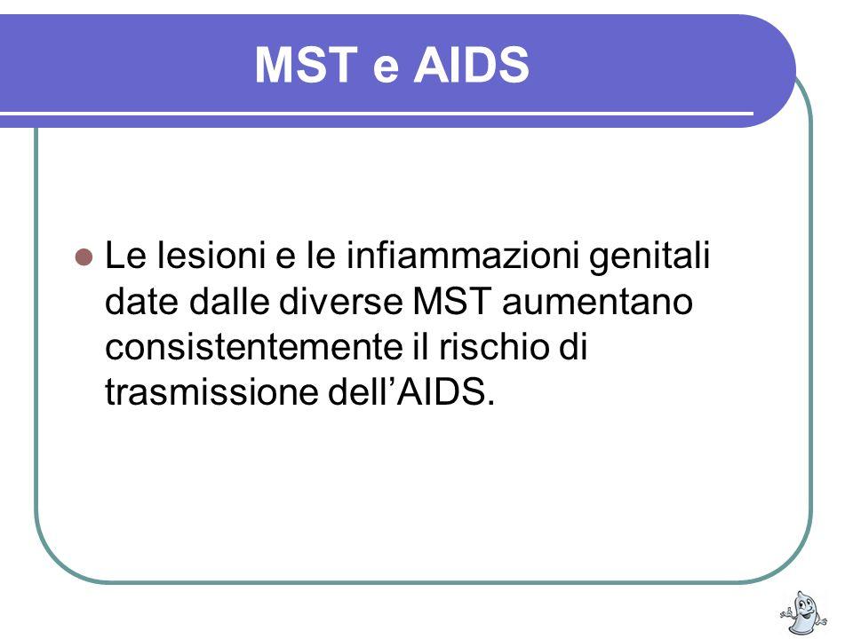 MST e AIDS Le lesioni e le infiammazioni genitali date dalle diverse MST aumentano consistentemente il rischio di trasmissione dellAIDS.