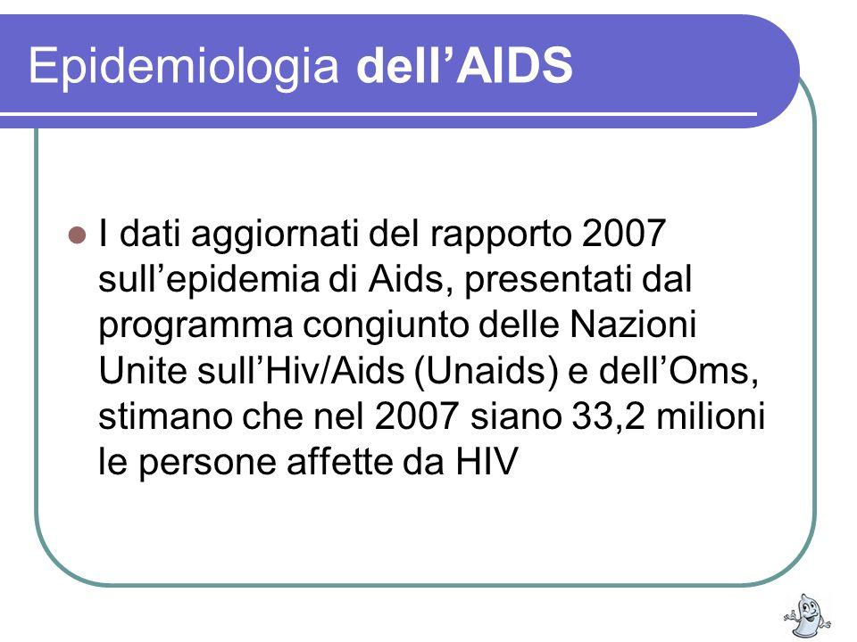 Epidemiologia dellAIDS I dati aggiornati del rapporto 2007 sullepidemia di Aids, presentati dal programma congiunto delle Nazioni Unite sullHiv/Aids (
