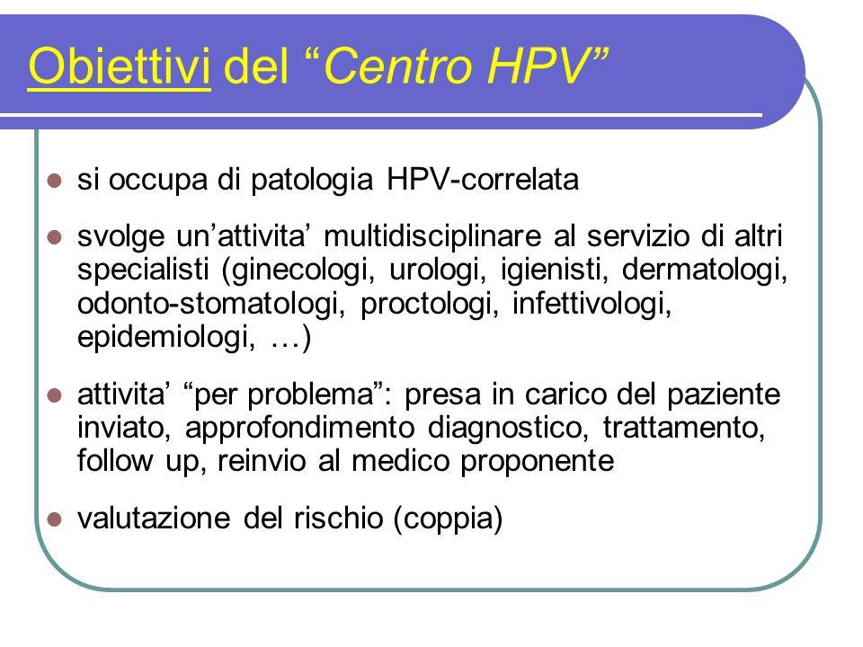 Obiettivi del Centro HPV si occupa di patologia HPV-correlata svolge unattivita multidisciplinare al servizio di altri specialisti (ginecologi, urolog