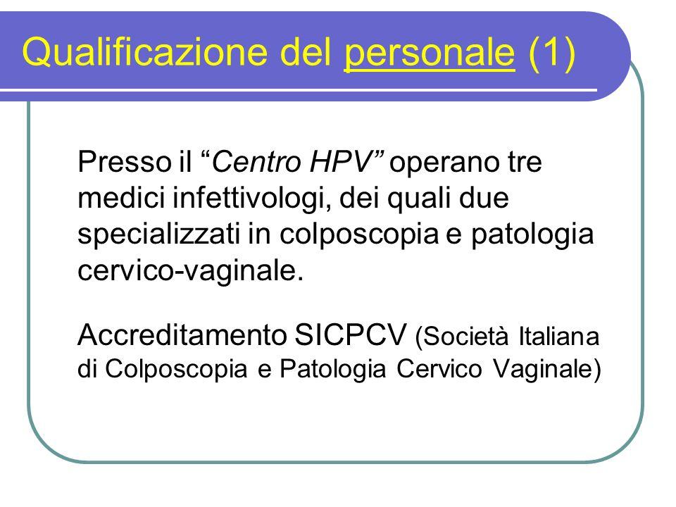 Qualificazione del personale (1) Presso il Centro HPV operano tre medici infettivologi, dei quali due specializzati in colposcopia e patologia cervico