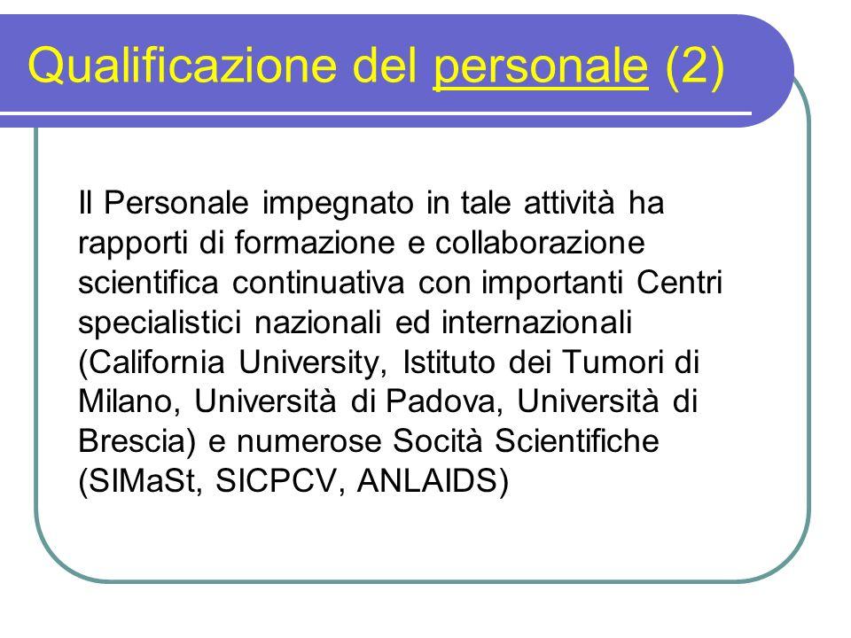 Qualificazione del personale (2) Il Personale impegnato in tale attività ha rapporti di formazione e collaborazione scientifica continuativa con impor