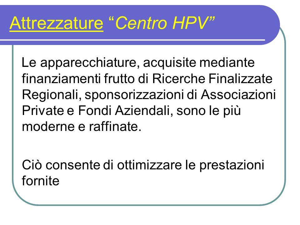 Attrezzature Centro HPV Le apparecchiature, acquisite mediante finanziamenti frutto di Ricerche Finalizzate Regionali, sponsorizzazioni di Associazion