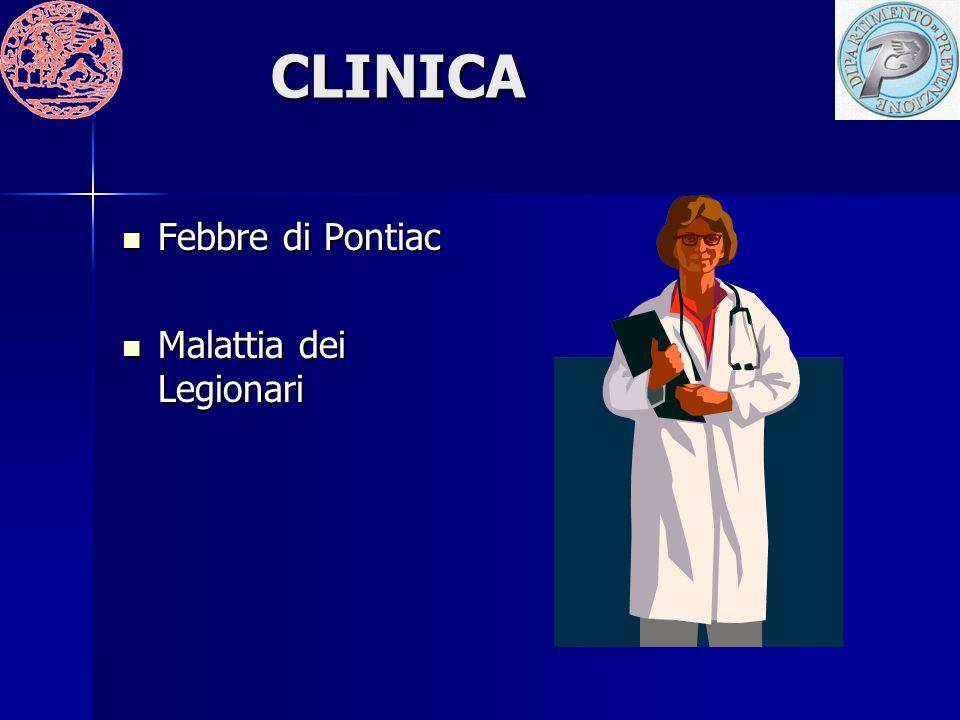CLINICA Febbre di Pontiac Febbre di Pontiac Malattia dei Legionari Malattia dei Legionari