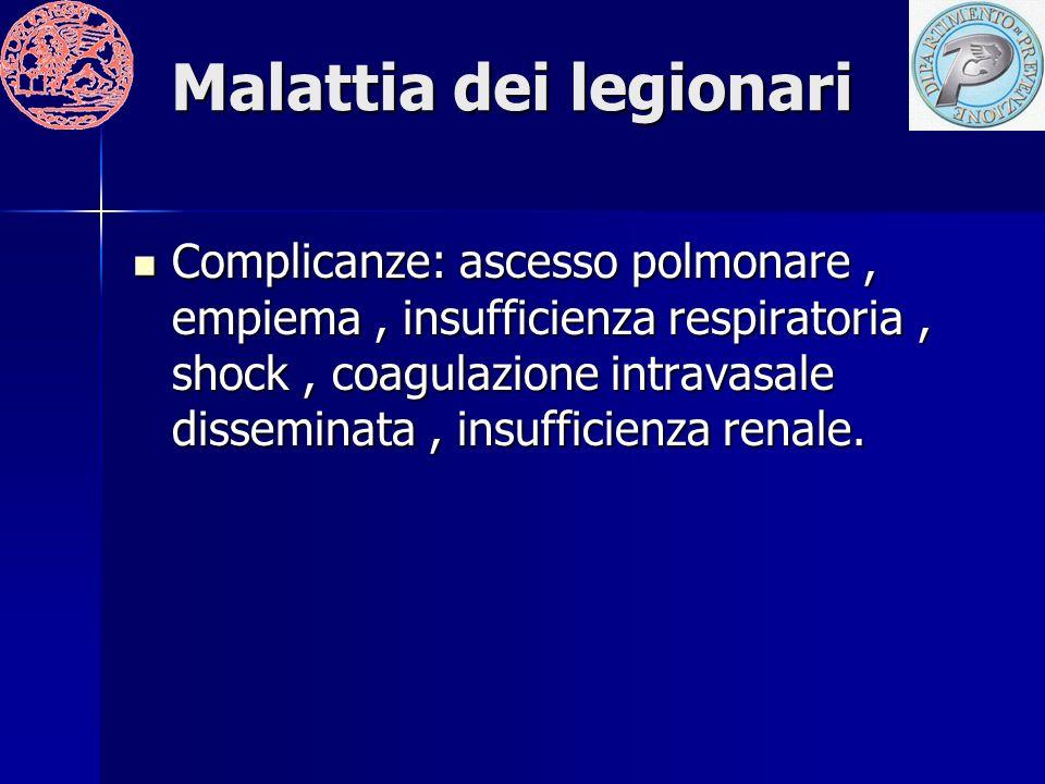 Malattia dei legionari Complicanze: ascesso polmonare, empiema, insufficienza respiratoria, shock, coagulazione intravasale disseminata, insufficienza renale.