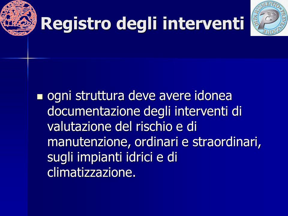 Registro degli interventi ogni struttura deve avere idonea documentazione degli interventi di valutazione del rischio e di manutenzione, ordinari e straordinari, sugli impianti idrici e di climatizzazione.