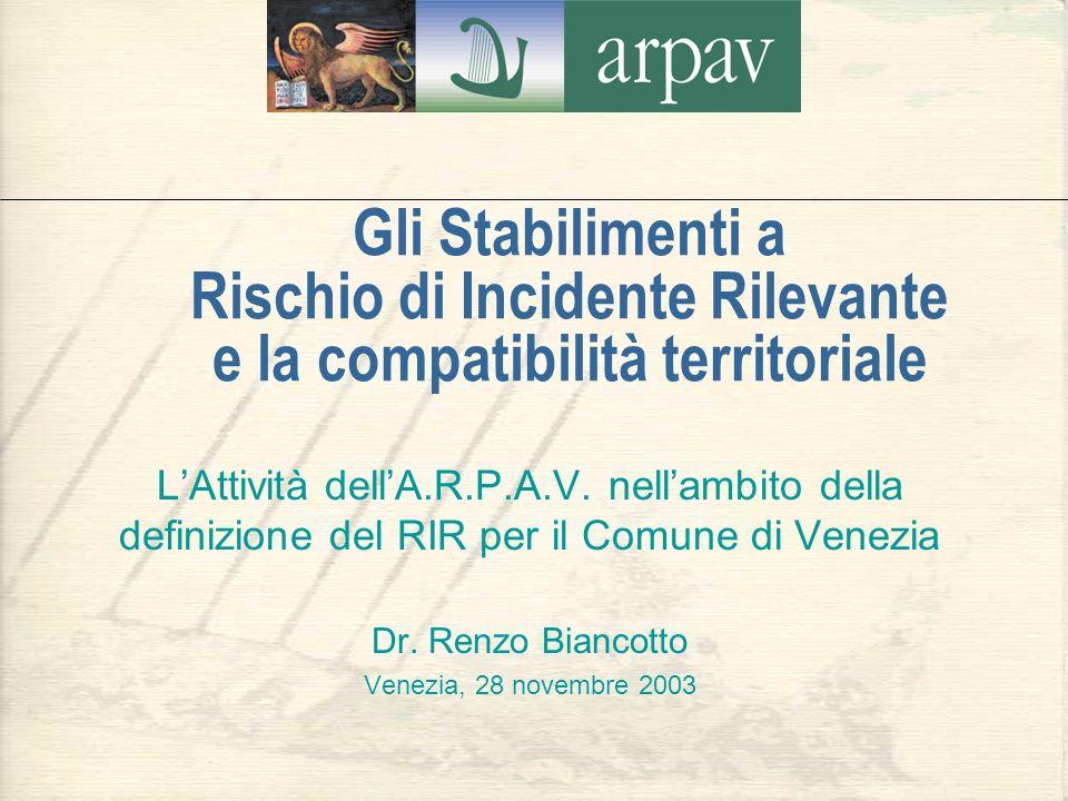 Gli Stabilimenti a Rischio di Incidente Rilevante e la compatibilità territoriale LAttività dellA.R.P.A.V. nellambito della definizione del RIR per il