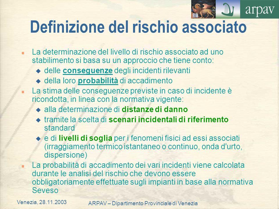 Venezia, 28.11.2003 ARPAV – Dipartimento Provinciale di Venezia Definizione del rischio associato n La determinazione del livello di rischio associato