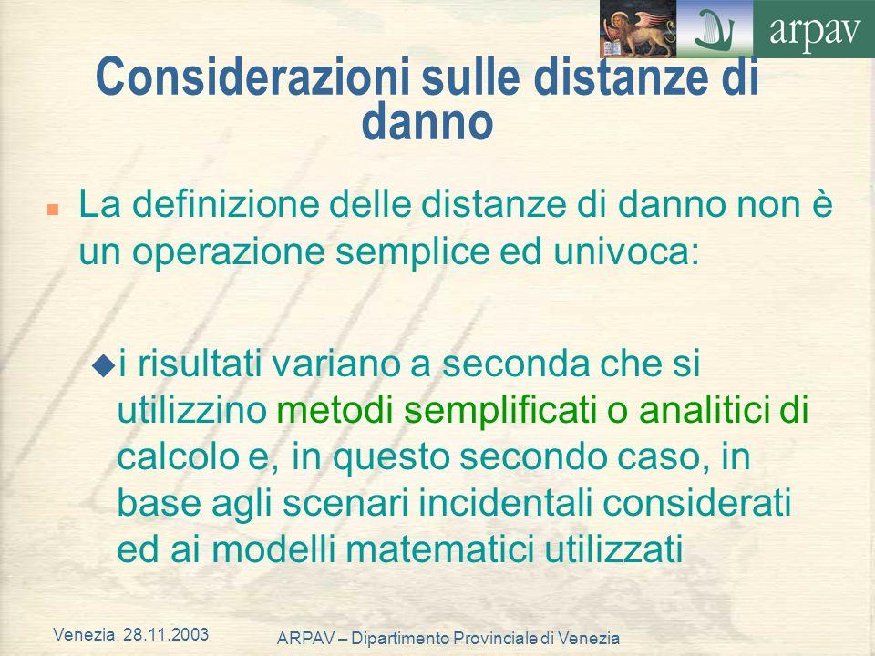 Venezia, 28.11.2003 ARPAV – Dipartimento Provinciale di Venezia Considerazioni sulle distanze di danno n La definizione delle distanze di danno non è