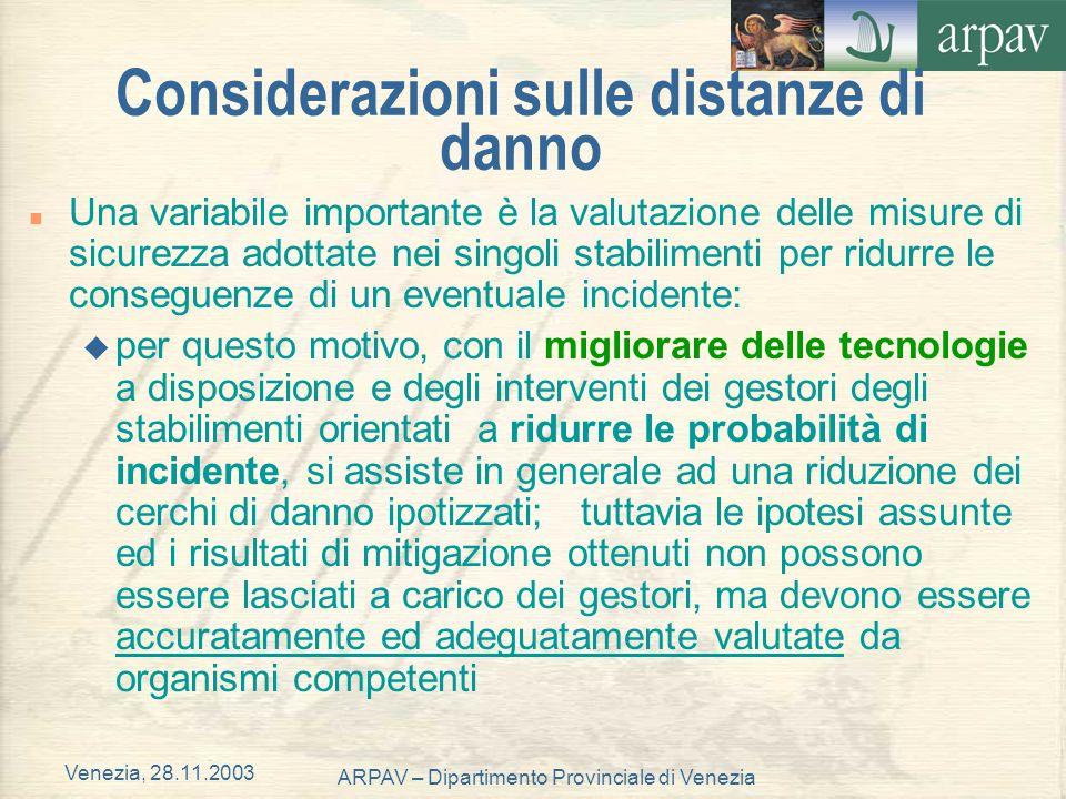 Venezia, 28.11.2003 ARPAV – Dipartimento Provinciale di Venezia Considerazioni sulle distanze di danno n Una variabile importante è la valutazione del