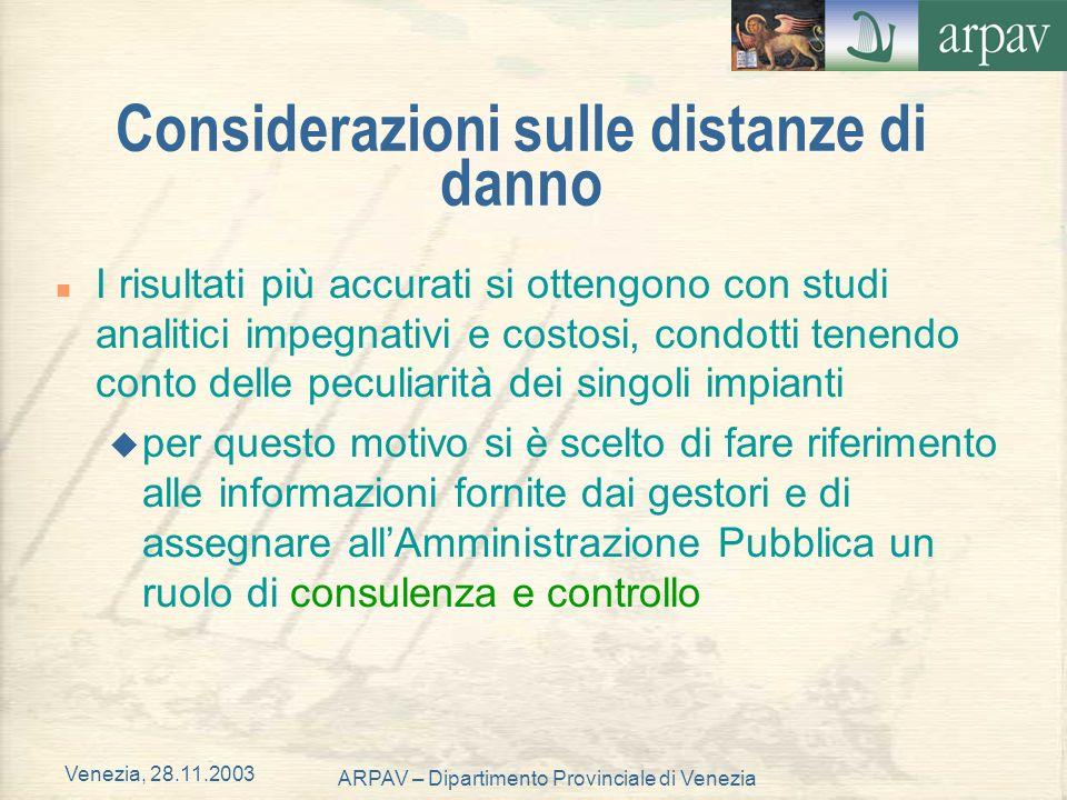 Venezia, 28.11.2003 ARPAV – Dipartimento Provinciale di Venezia Considerazioni sulle distanze di danno n I risultati più accurati si ottengono con stu