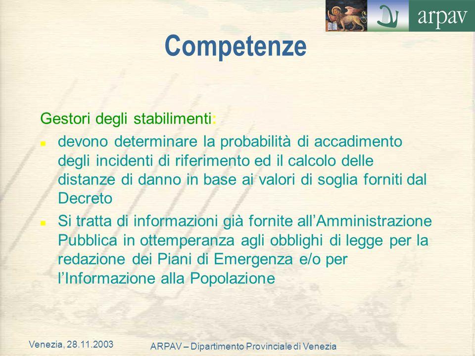 Venezia, 28.11.2003 ARPAV – Dipartimento Provinciale di Venezia Competenze Gestori degli stabilimenti: n devono determinare la probabilità di accadime
