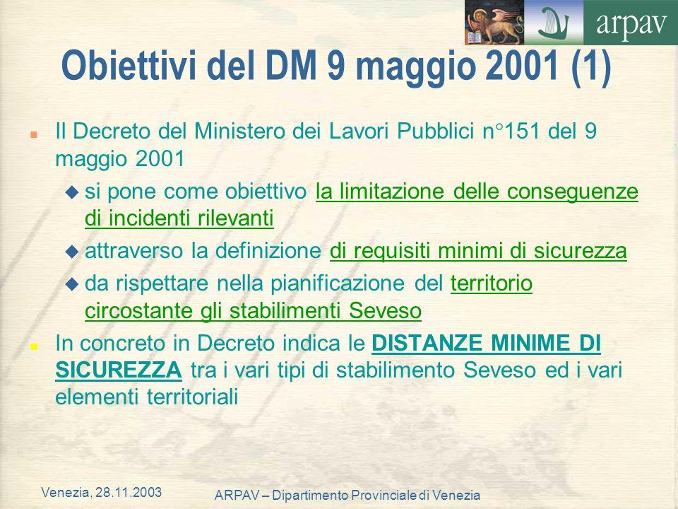 Venezia, 28.11.2003 ARPAV – Dipartimento Provinciale di Venezia Obiettivi del DM 9 maggio 2001 (1) n Il Decreto del Ministero dei Lavori Pubblici n°15