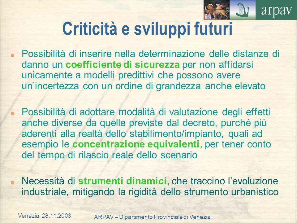 Venezia, 28.11.2003 ARPAV – Dipartimento Provinciale di Venezia Criticità e sviluppi futuri n Possibilità di inserire nella determinazione delle dista