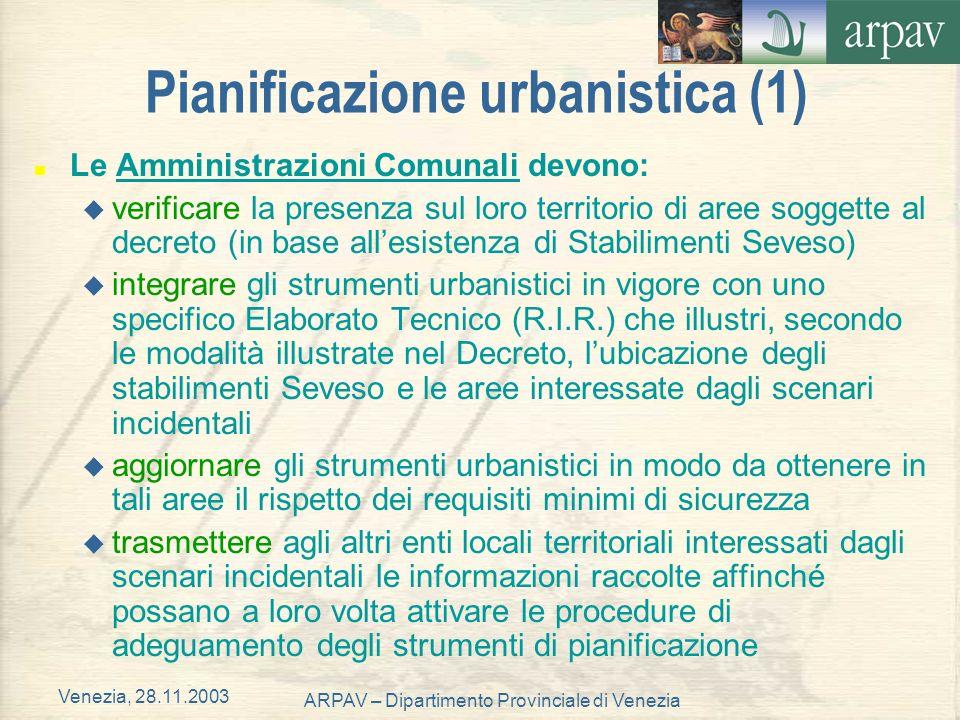 Venezia, 28.11.2003 ARPAV – Dipartimento Provinciale di Venezia Pianificazione urbanistica (1) n Le Amministrazioni Comunali devono: u verificare la p