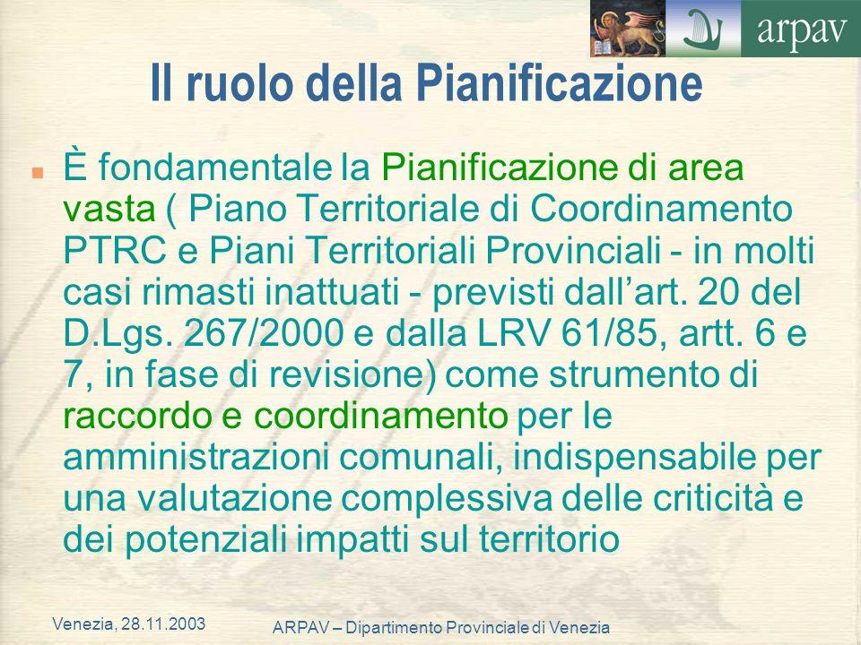 Venezia, 28.11.2003 ARPAV – Dipartimento Provinciale di Venezia Il ruolo della Pianificazione n È fondamentale la Pianificazione di area vasta ( Piano