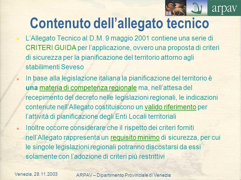 Venezia, 28.11.2003 ARPAV – Dipartimento Provinciale di Venezia Contenuto dellallegato tecnico n LAllegato Tecnico al D.M. 9 maggio 2001 contiene una