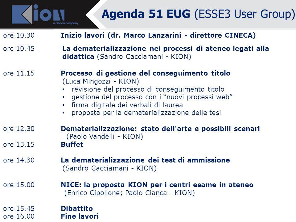 Agenda 51 EUG (ESSE3 User Group) Ore 10.30 Inizio lavori Dottor Daniele LIVON - Direttore Amministrativo Università di Udine e Referente gruppo CODAU