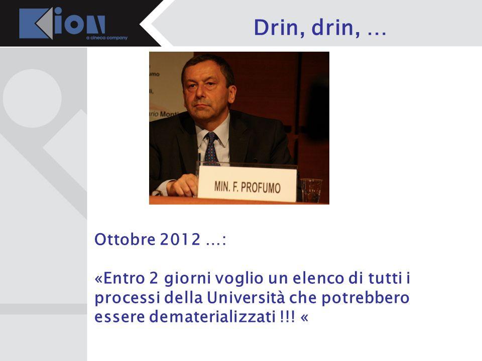 Drin, drin, … Ottobre 2012 …: «Entro 2 giorni voglio un elenco di tutti i processi della Università che potrebbero essere dematerializzati !!! «