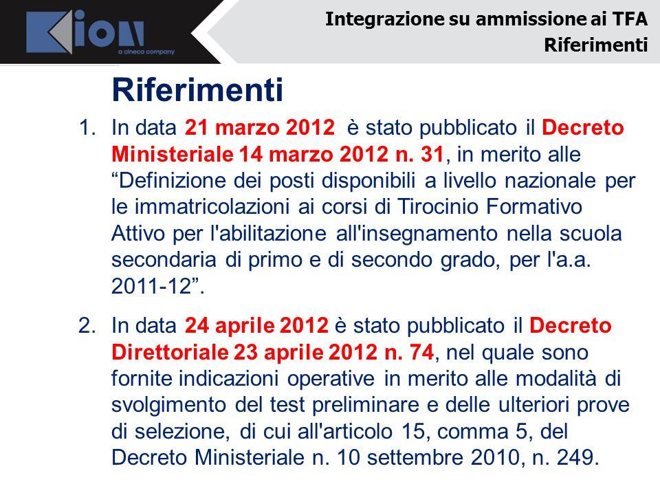 Riferimenti 1.In data 21 marzo 2012 è stato pubblicato il Decreto Ministeriale 14 marzo 2012 n. 31, in merito alle Definizione dei posti disponibili a