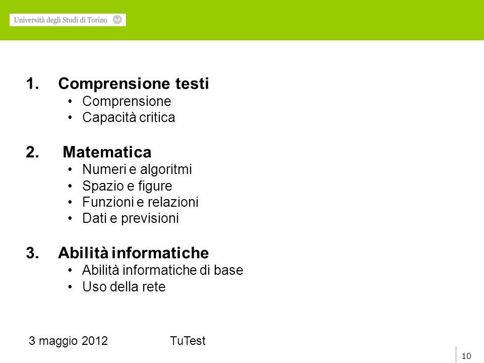 10 3 maggio 2012TuTest 1.Comprensione testi Comprensione Capacità critica 2.