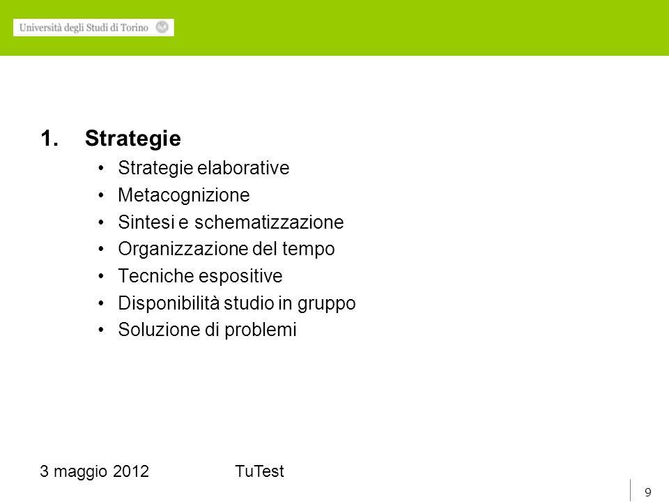9 3 maggio 2012TuTest 1.Strategie Strategie elaborative Metacognizione Sintesi e schematizzazione Organizzazione del tempo Tecniche espositive Disponibilità studio in gruppo Soluzione di problemi