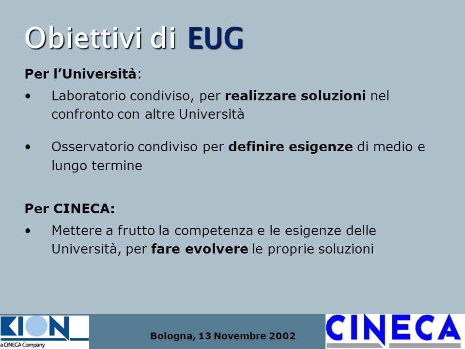 Bologna, 13 Novembre 2002 Obiettivi di EUG Per lUniversità: Laboratorio condiviso, per realizzare soluzioni nel confronto con altre Università Osserva