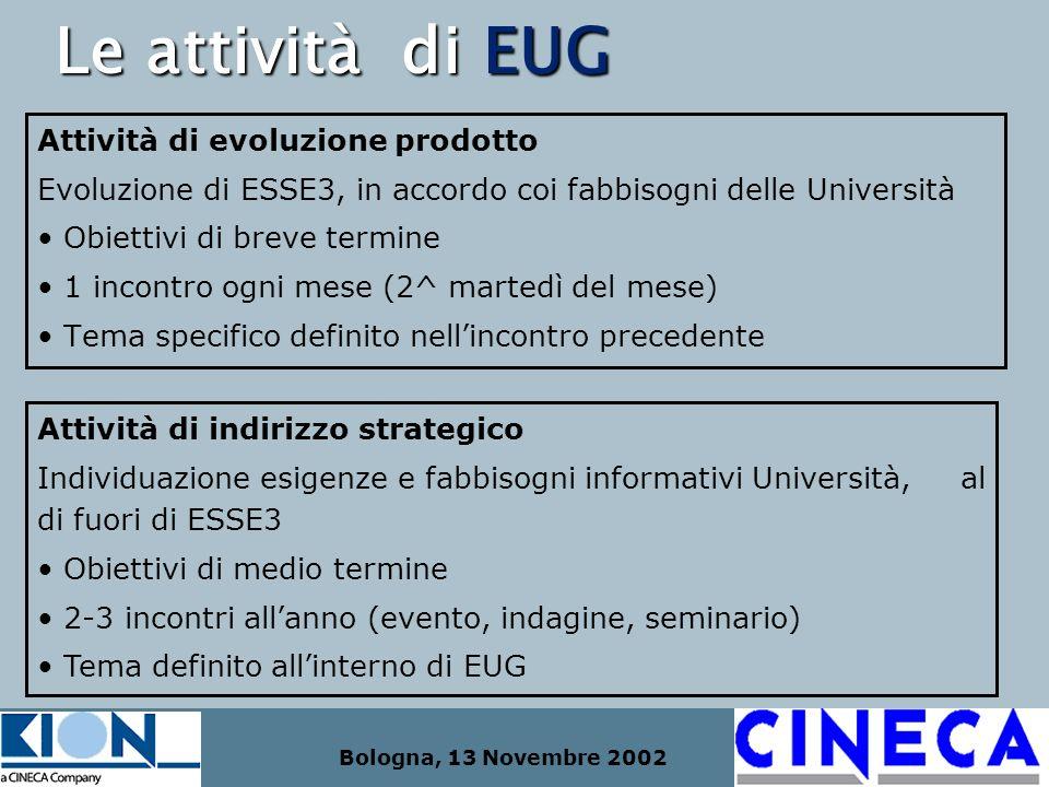 Bologna, 13 Novembre 2002 Le attività di EUG Attività di evoluzione prodotto Evoluzione di ESSE3, in accordo coi fabbisogni delle Università Obiettivi
