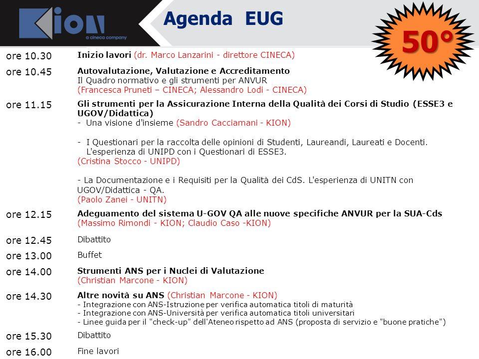 Agenda EUG Ore 10.30 Inizio lavori Dottor Daniele LIVON - Direttore Amministrativo Università di Udine e Referente gruppo CODAU per ESSE3 Dottor Marco