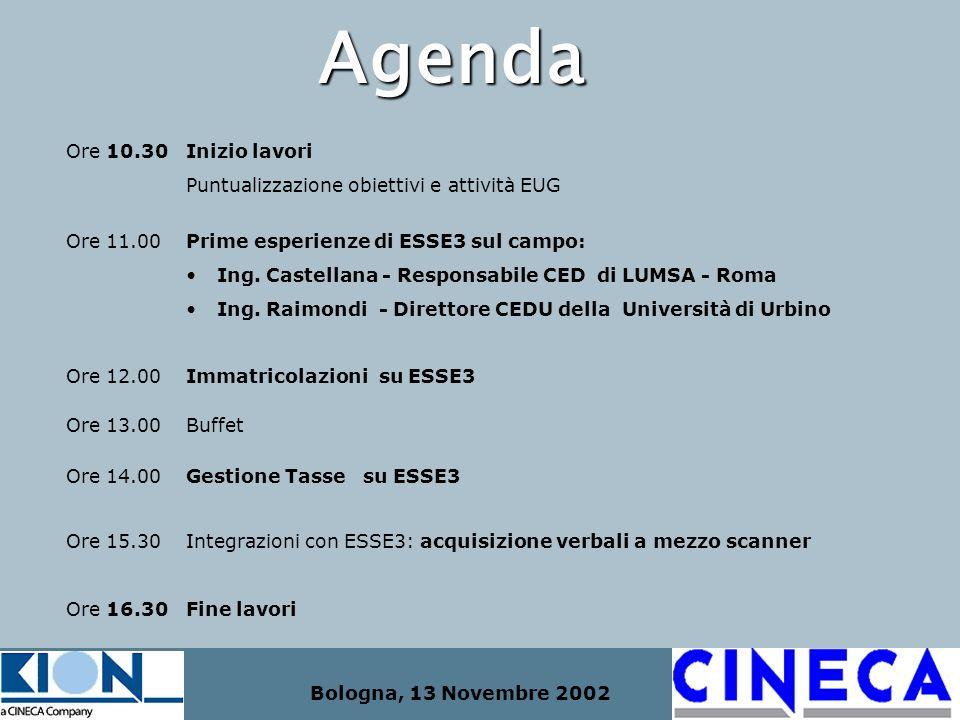 Bologna, 13 Novembre 2002 Agenda Ore 10.30 Inizio lavori Puntualizzazione obiettivi e attività EUG Ore 11.00 Prime esperienze di ESSE3 sul campo: Ing.