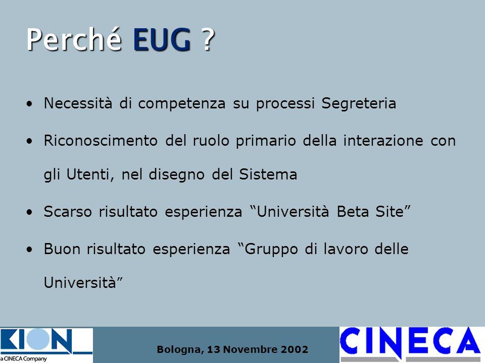 Bologna, 13 Novembre 2002 Perché EUG ? Necessità di competenza su processi Segreteria Riconoscimento del ruolo primario della interazione con gli Uten