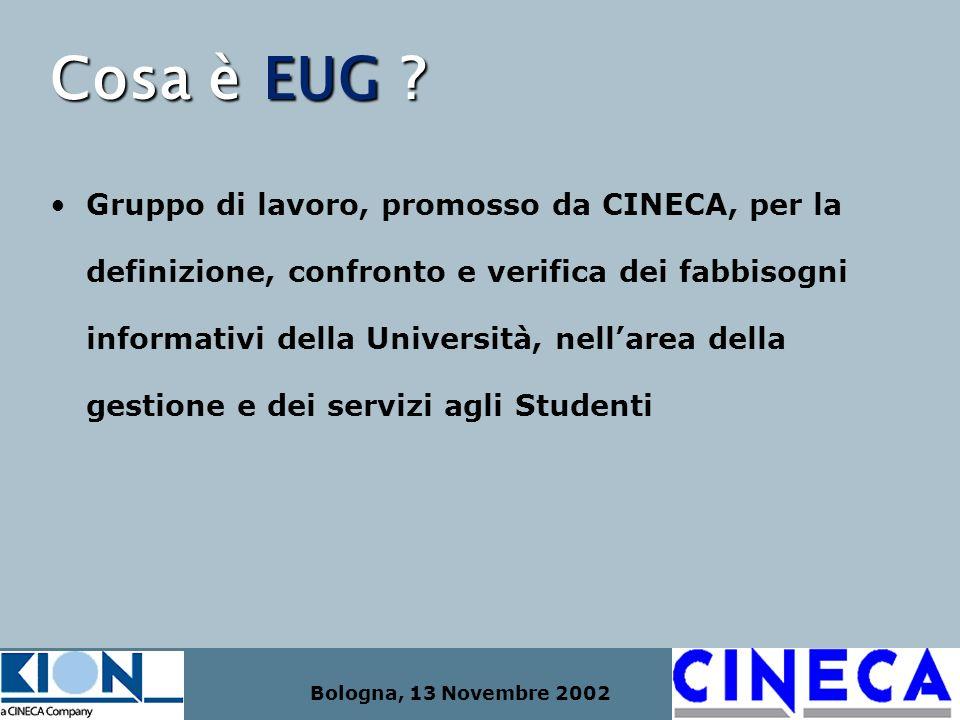 Bologna, 13 Novembre 2002 Cosa è EUG ? Gruppo di lavoro, promosso da CINECA, per la definizione, confronto e verifica dei fabbisogni informativi della